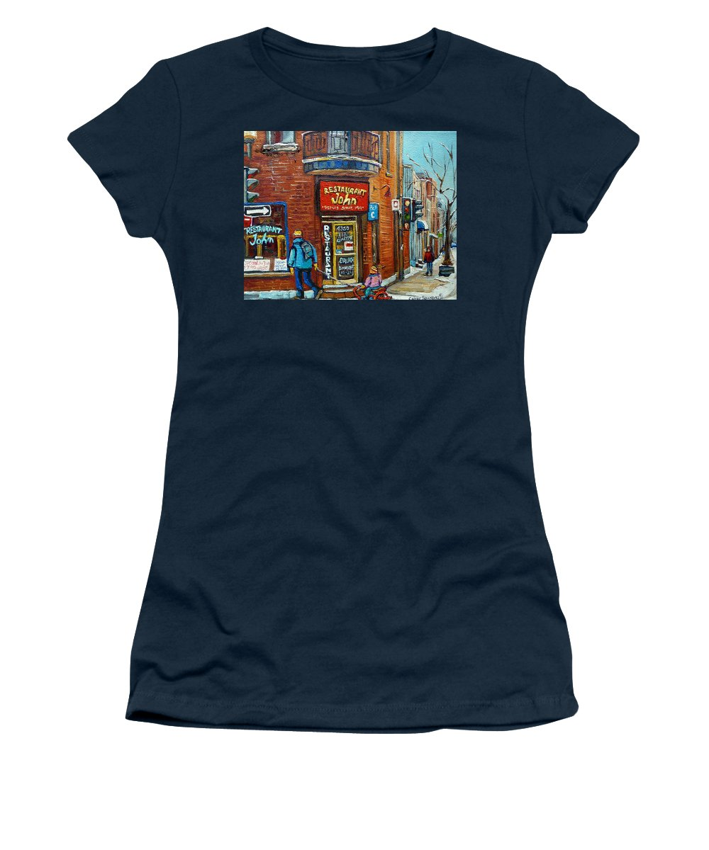 Restaurant John Montreal Women's T-Shirt (Athletic Fit) featuring the painting Saint Henri Street In Winter by Carole Spandau