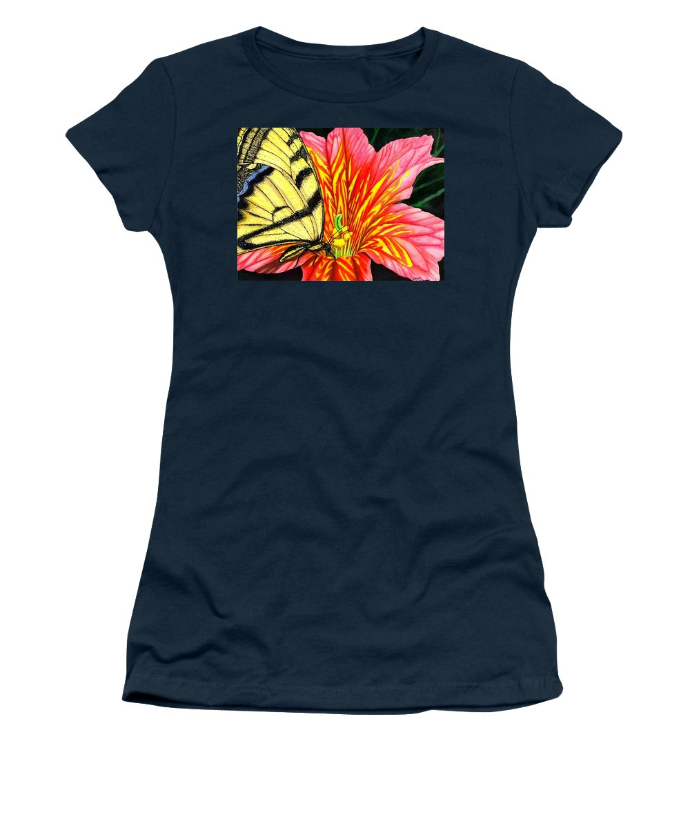 Salpiglossis Women's T-Shirt featuring the painting Salpliglossis by Catherine G McElroy
