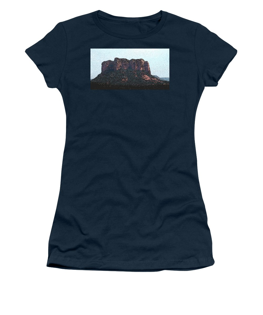 Altered Photography Women's T-Shirt (Athletic Fit) featuring the photograph Sedona Rock Formation by Wayne Potrafka