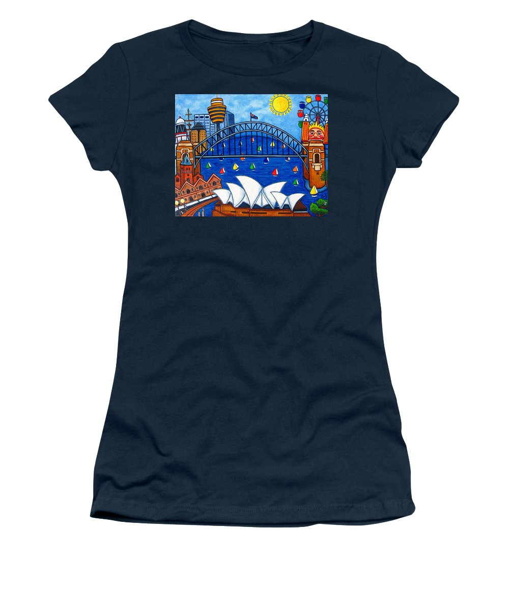 House Women's T-Shirt (Athletic Fit) featuring the painting Sensational Sydney by Lisa Lorenz