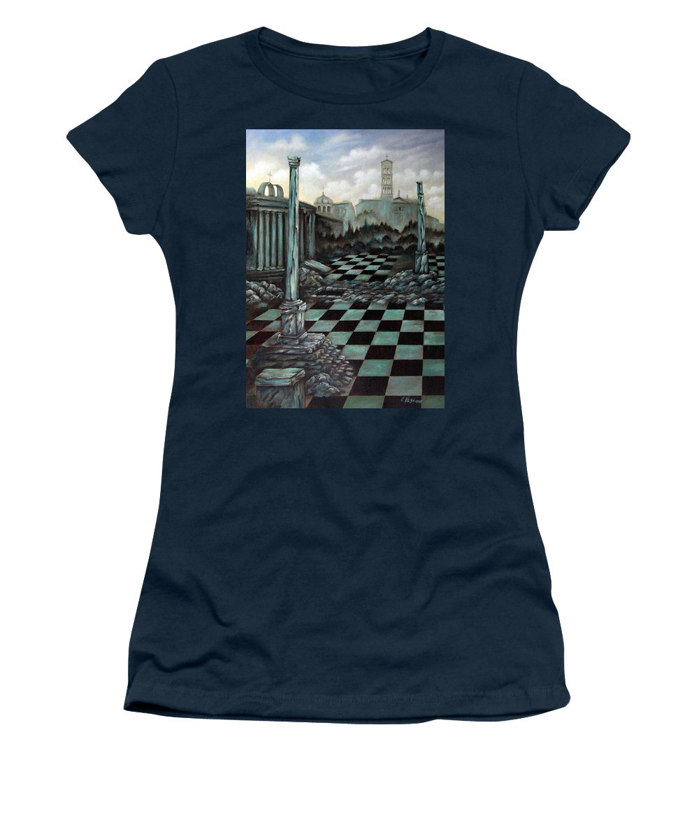 Surreal Women's T-Shirt featuring the painting Sepulchre by Valerie Vescovi