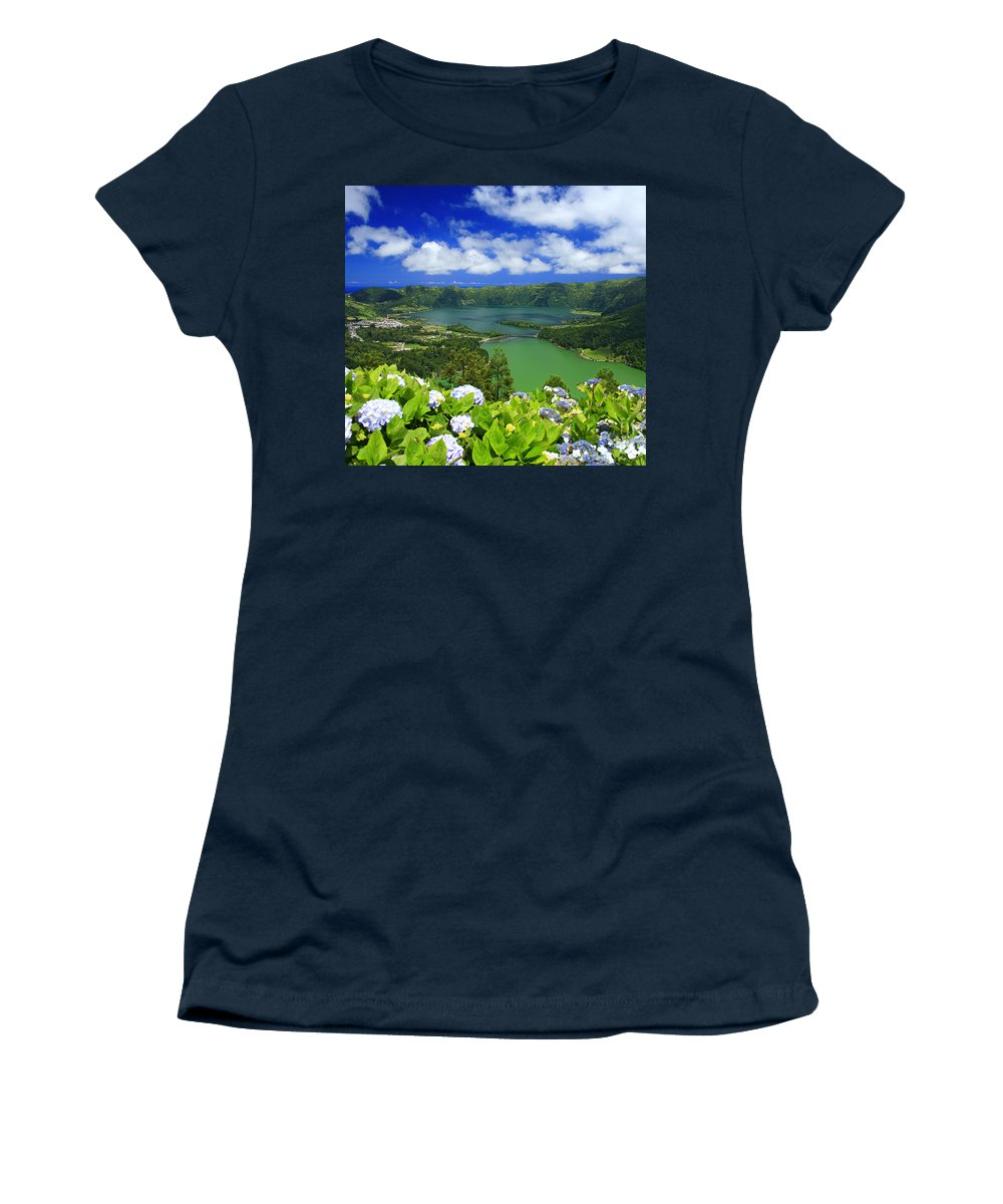 Sete Cidades Women's T-Shirt (Athletic Fit) featuring the photograph Sete Cidades Crater by Gaspar Avila