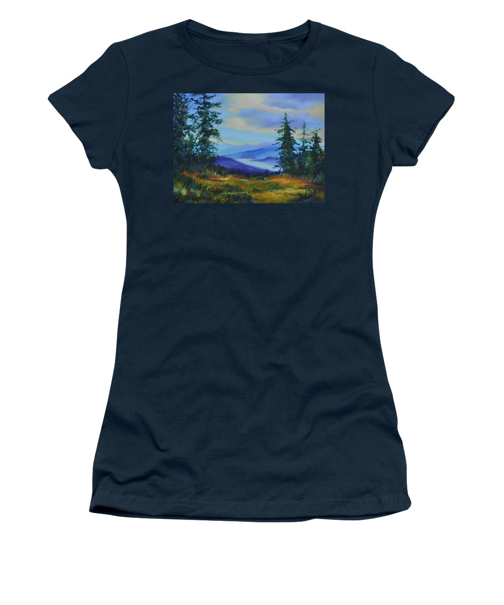 Alaska Mountains Women's T-Shirt (Athletic Fit) featuring the painting Seven Mile Saddle by Ginger Concepcion