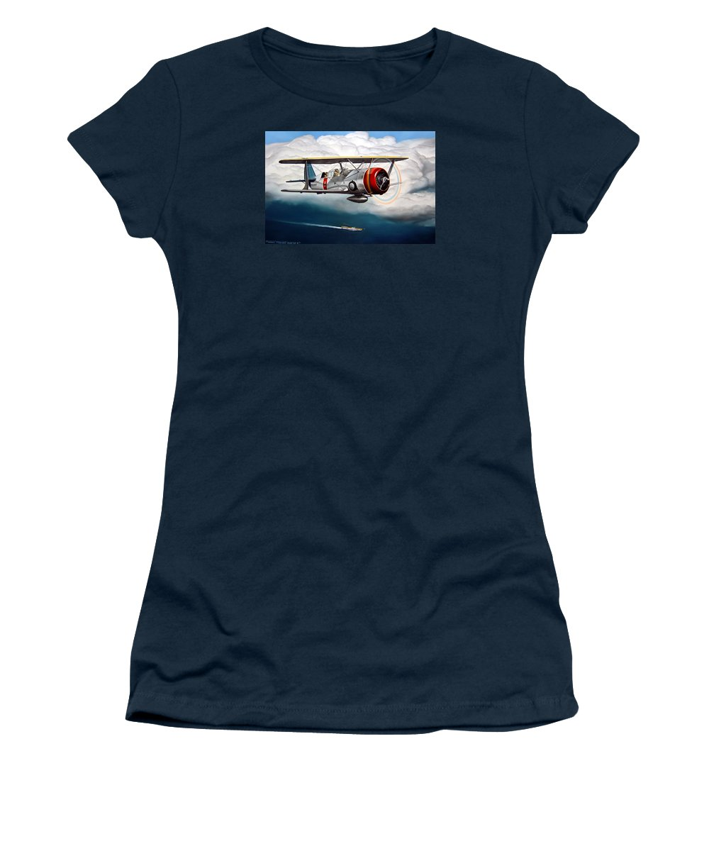 Aviation Women's T-Shirt (Athletic Fit) featuring the painting Shakedown Cruise by Marc Stewart