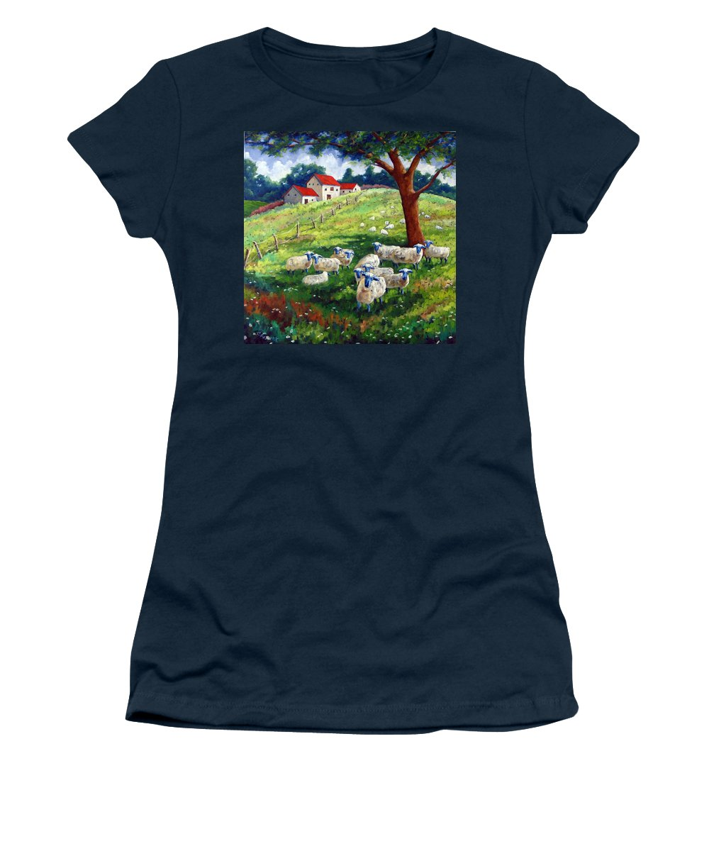 Sheep Women's T-Shirt featuring the painting Sheeps In A Field by Richard T Pranke