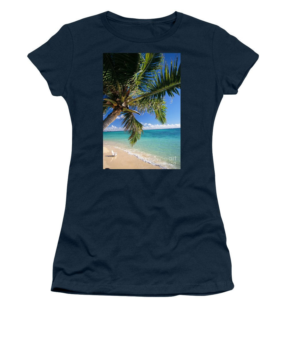 Beach Women's T-Shirt (Athletic Fit) featuring the photograph Shoreline Waters by Dana Edmunds - Printscapes