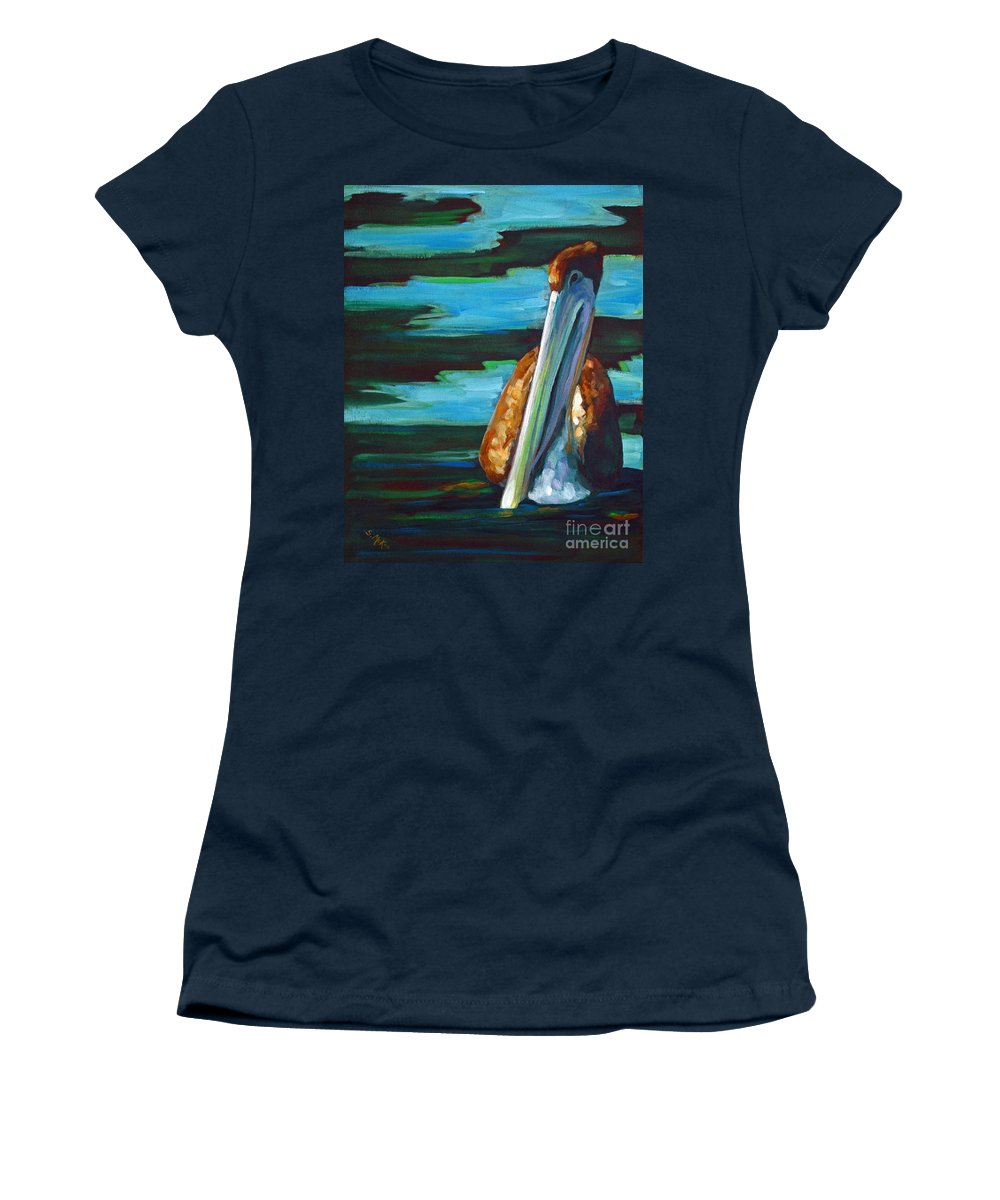 Acrylic Women's T-Shirt (Athletic Fit) featuring the painting Shy Brownie by Suzanne McKee