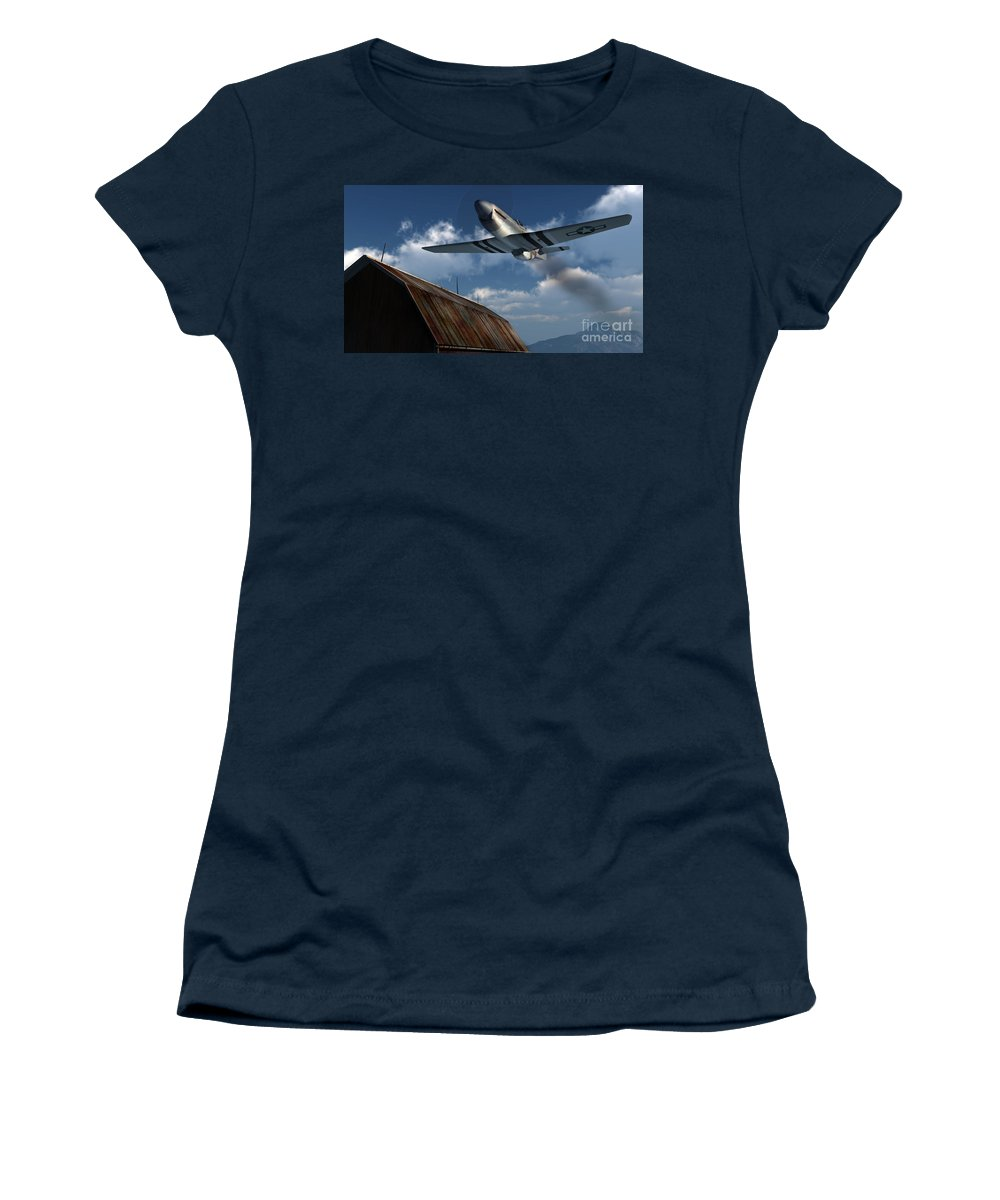 Aviation Women's T-Shirt featuring the digital art Sightseeing by Richard Rizzo
