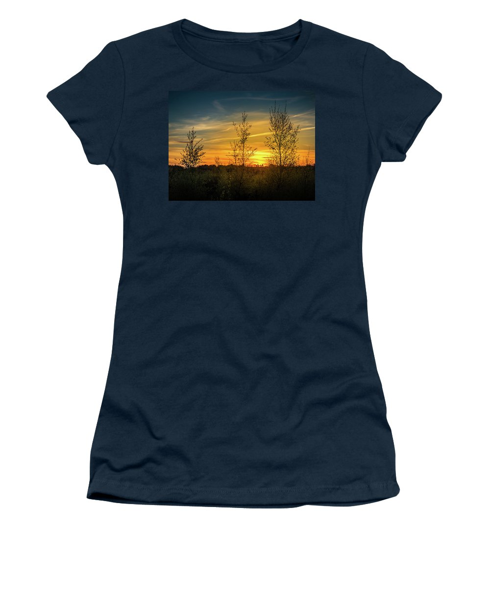 Silhouette Women's T-Shirt featuring the photograph Silhouette By Sunset by Nick Bywater