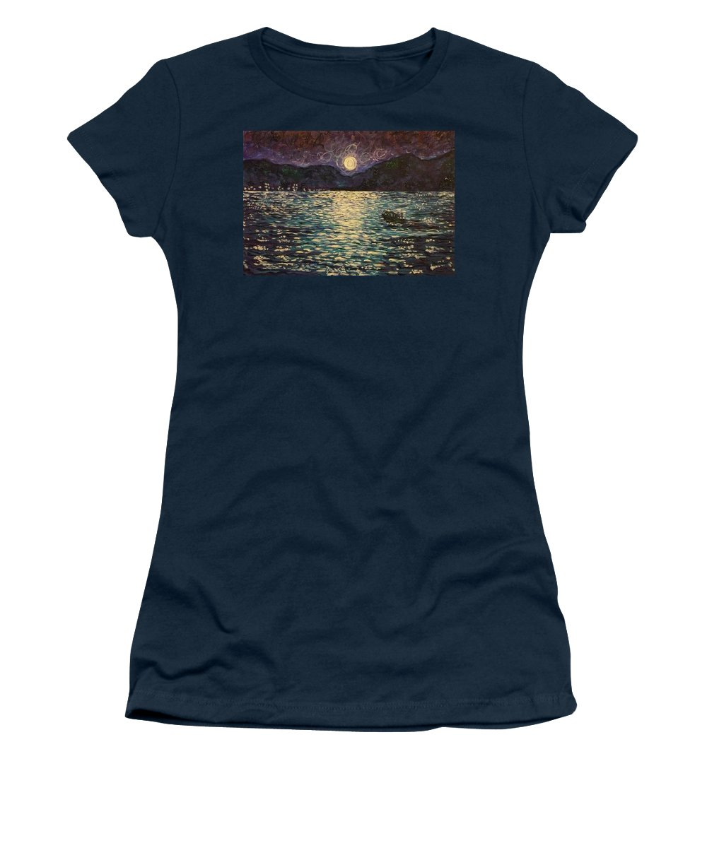 Landscape Women's T-Shirt (Athletic Fit) featuring the painting Silver Sea by Ericka Herazo