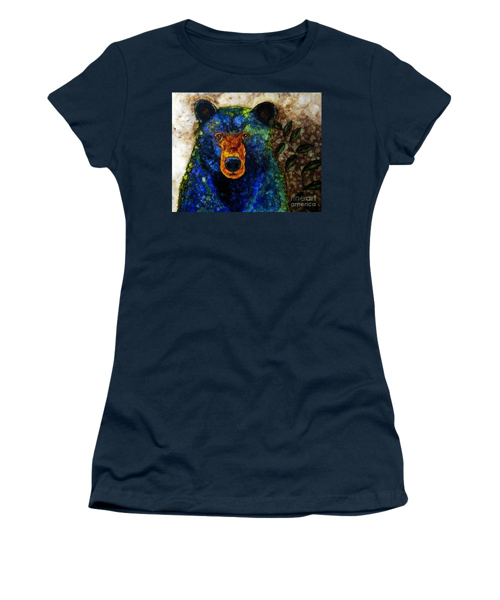 Alcohol Ink Women's T-Shirt (Athletic Fit) featuring the painting Sitting And Waiting by Jan Killian