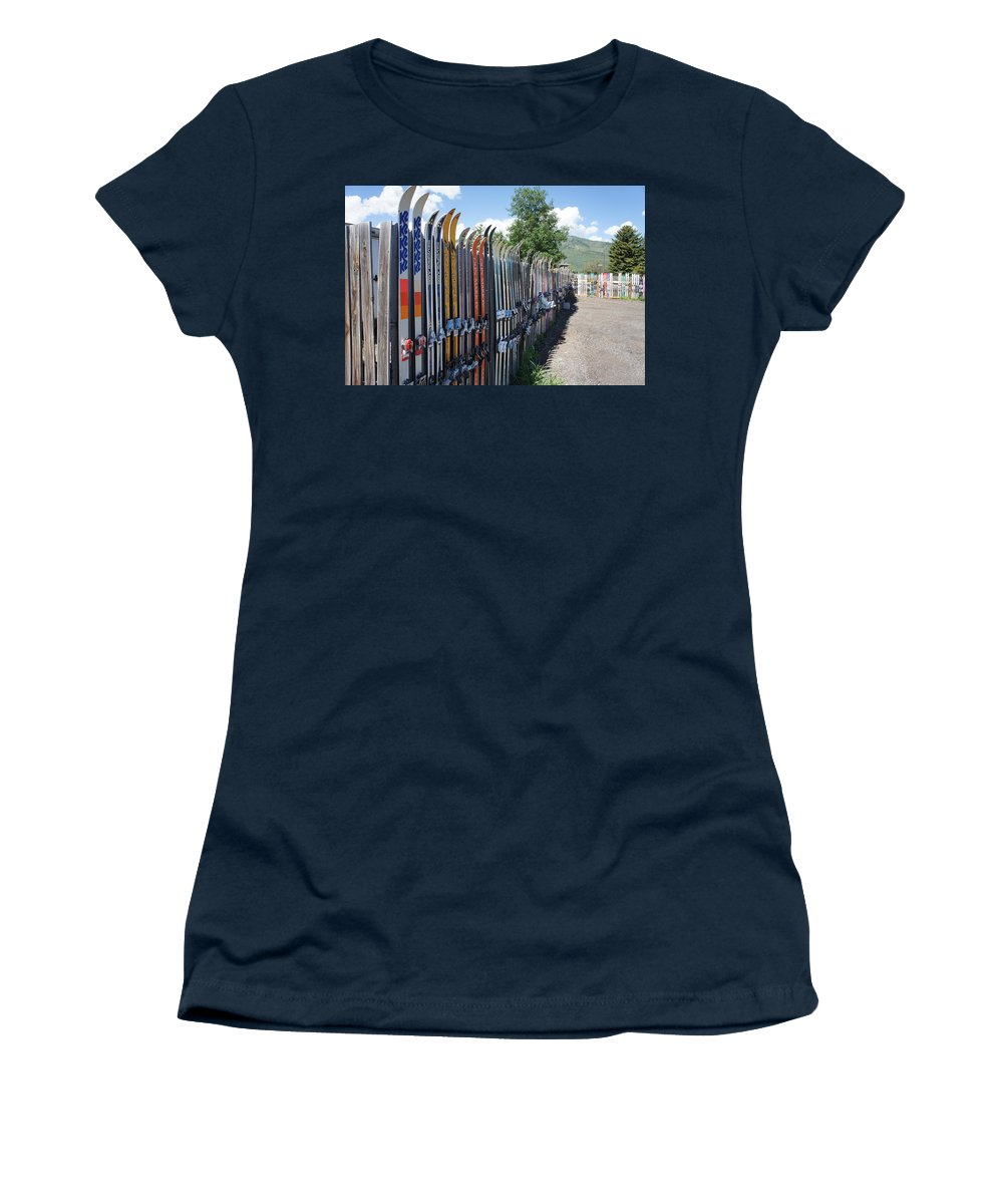 Ski Fence Women's T-Shirt featuring the photograph Ski Fence by Priscilla Wolfe