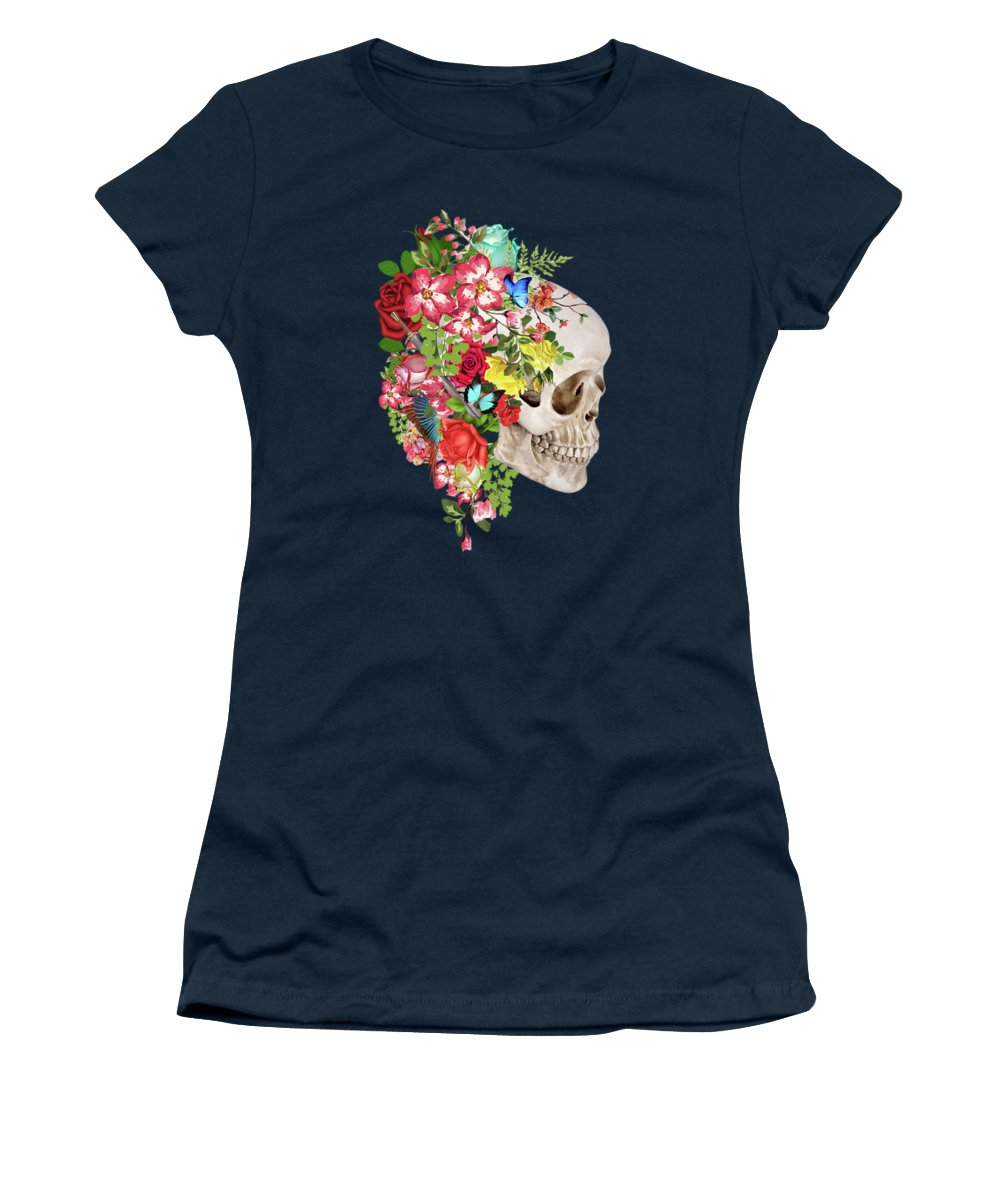 Mask Women's T-Shirt featuring the digital art Skull Floral 2 by Mark Ashkenazi