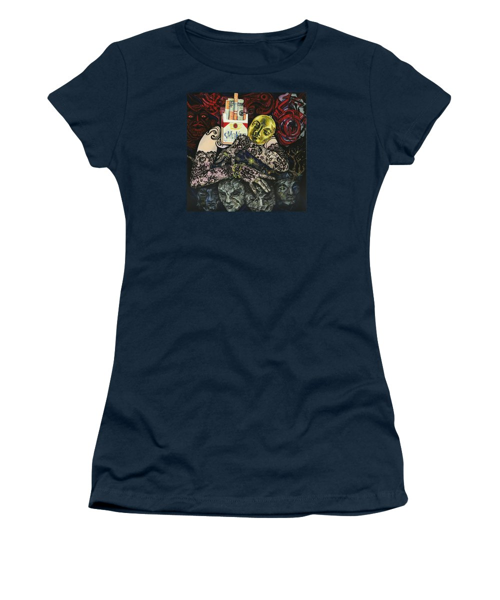 Surreal Women's T-Shirt (Athletic Fit) featuring the painting Smoke And Lace by Yelena Tylkina