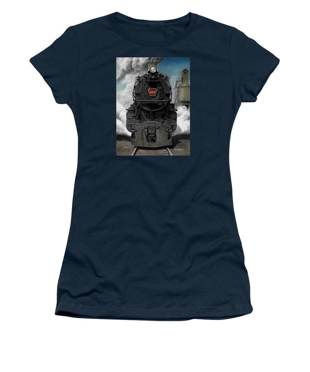 Trains Women's T-Shirt featuring the painting Smoke and Steam by David Mittner