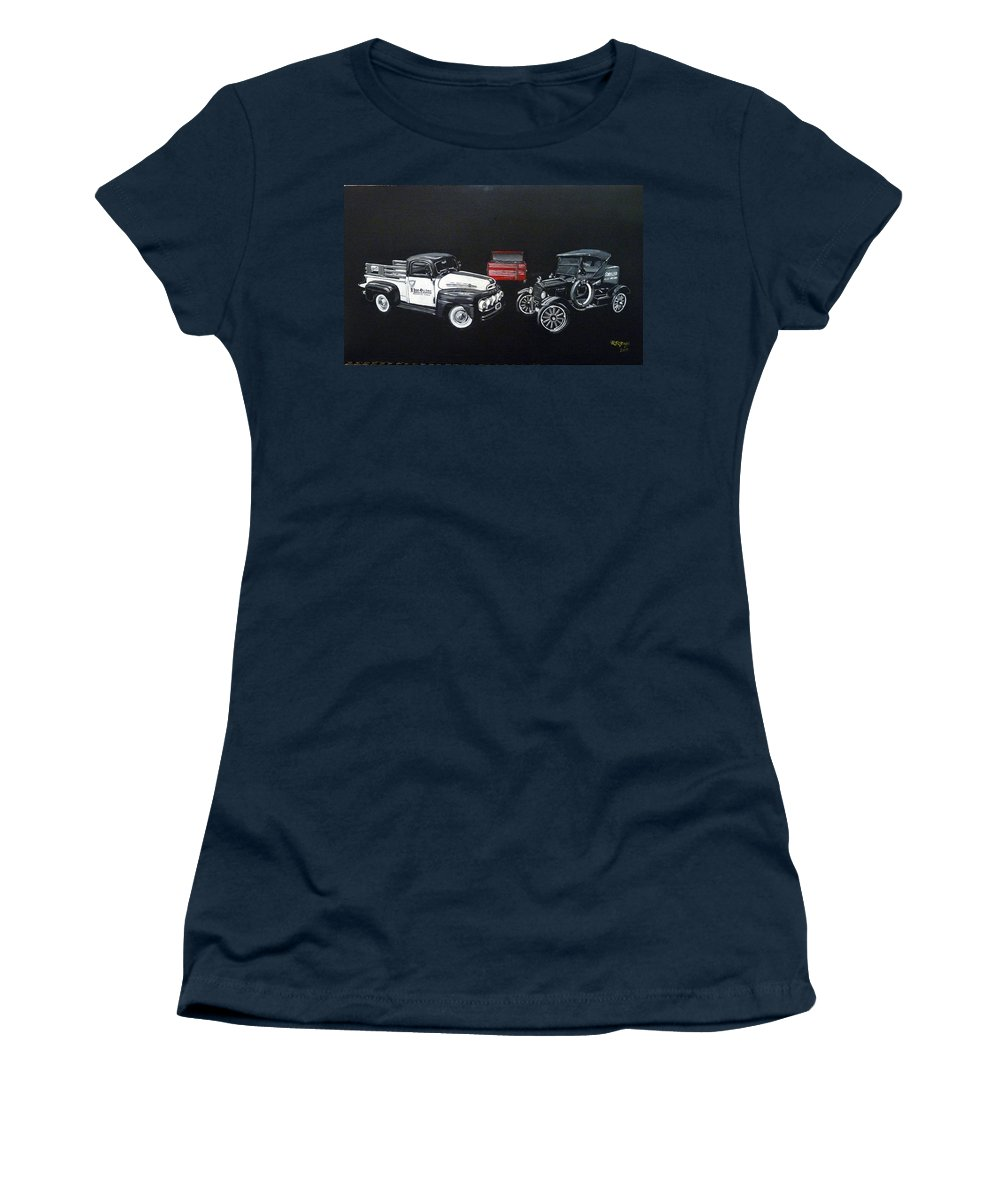 Trucks Women's T-Shirt featuring the painting Snap-on Ford Trucks by Richard Le Page