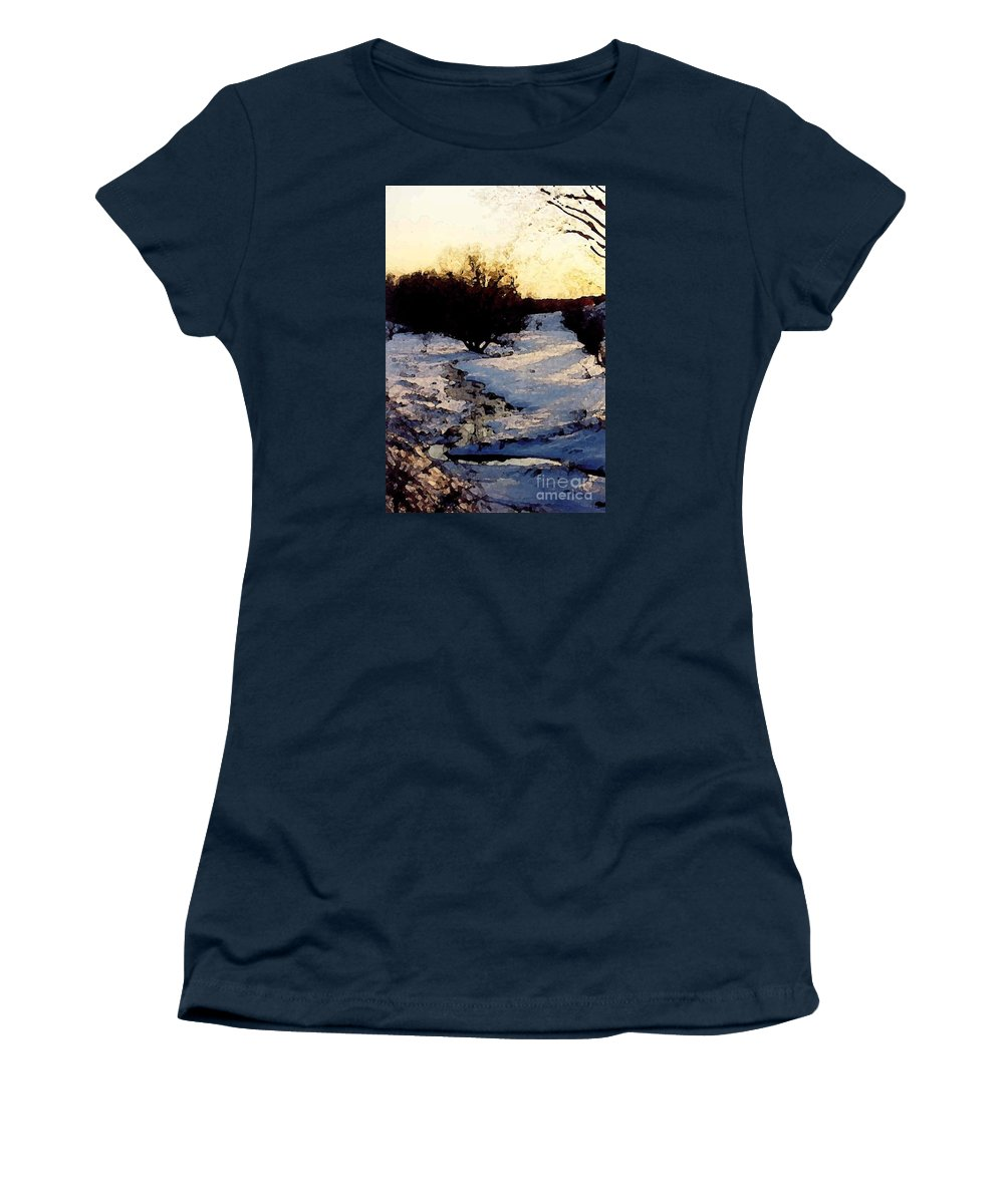 Winter Women's T-Shirt (Athletic Fit) featuring the digital art Snowmelt by Mendy Pedersen
