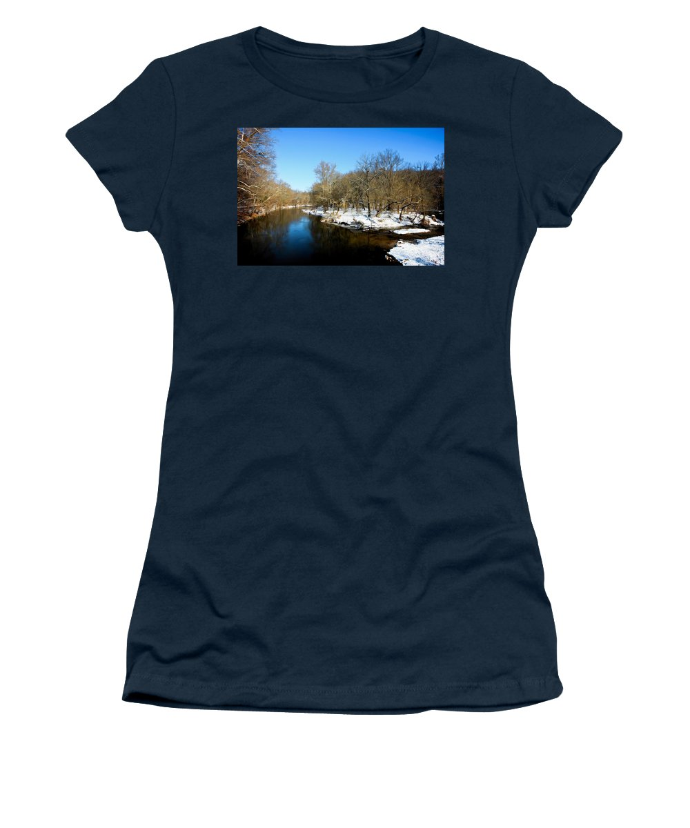 Landscape Women's T-Shirt featuring the photograph Snowy Creek Morning by William Jobes