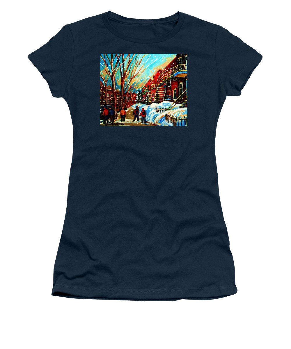 Montreal Women's T-Shirt (Athletic Fit) featuring the painting Softly Snowing by Carole Spandau