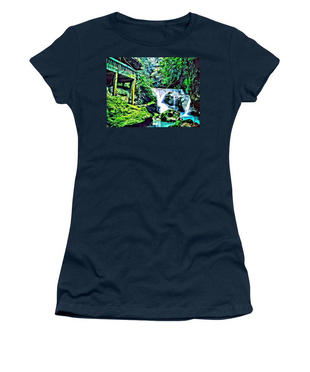 Waterfall Women's T-Shirt featuring the digital art Somerset House by Anthony C Chen