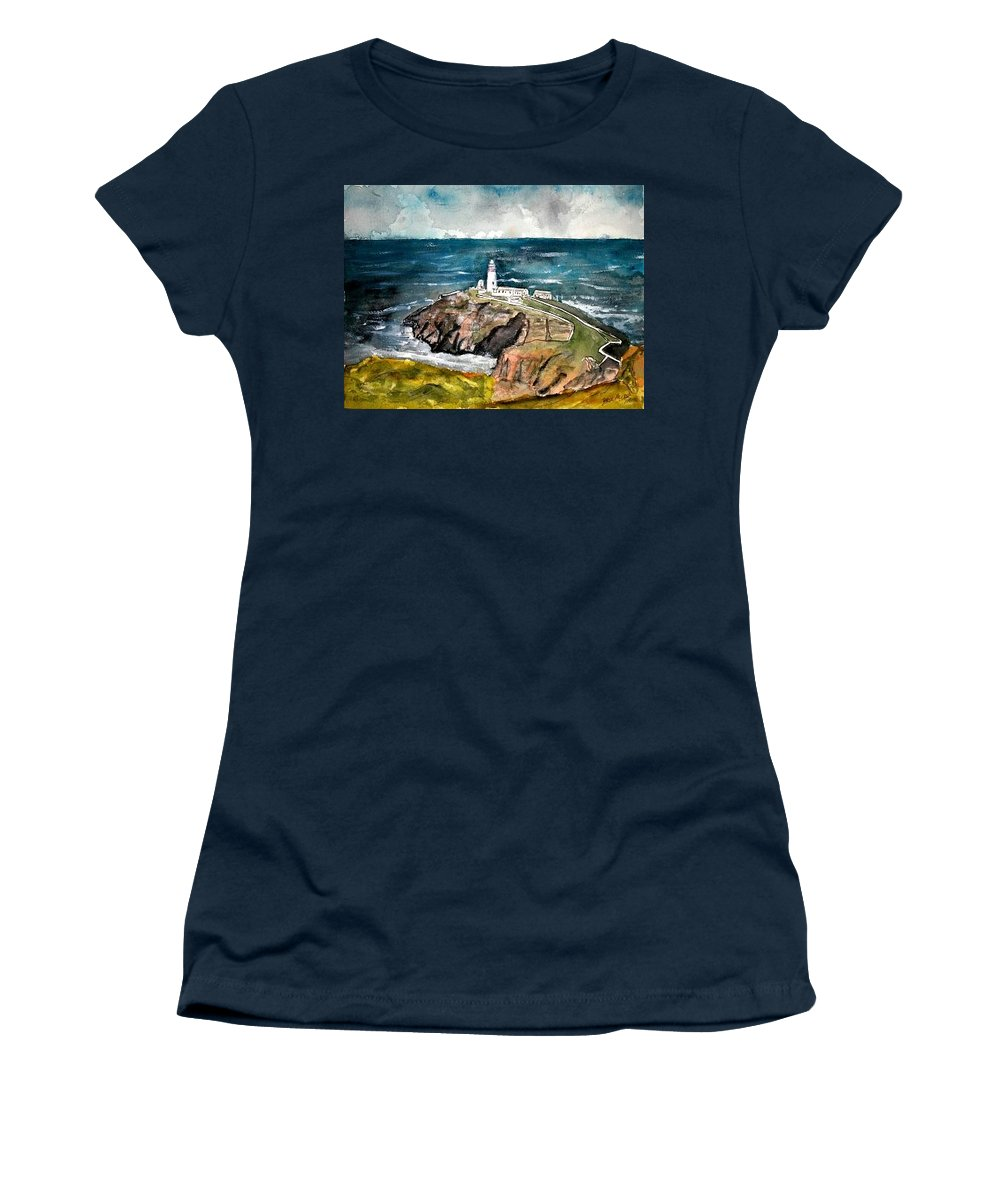 South Stack Lighthouse Women's T-Shirt featuring the painting South Stack Lighthouse by Derek Mccrea