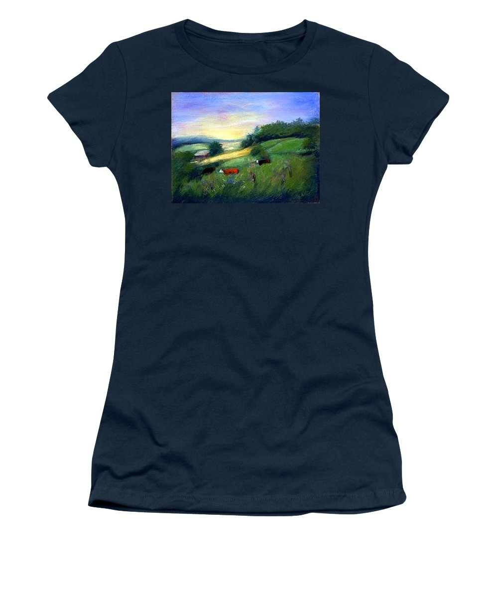 Landscape Women's T-Shirt (Athletic Fit) featuring the painting Southern Ohio Farm by Gail Kirtz