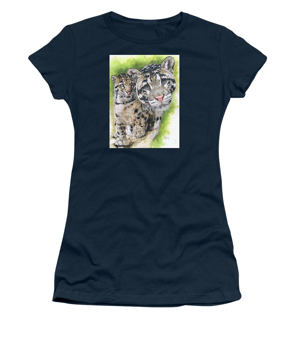 Clouded Leopard Women's T-Shirt featuring the mixed media Sovereignty by Barbara Keith
