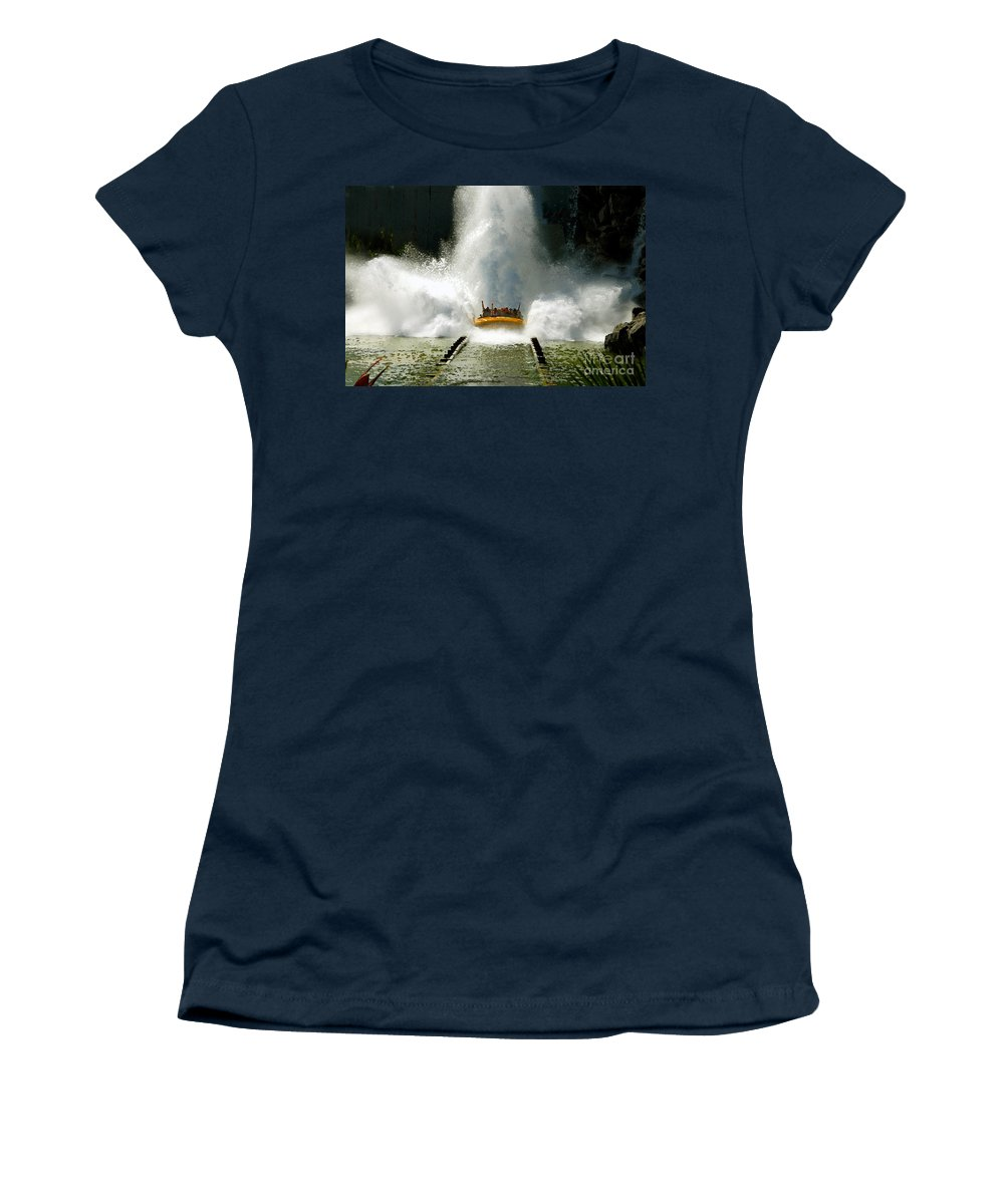 Universal Studios Women's T-Shirt (Athletic Fit) featuring the photograph Splash Down by David Lee Thompson
