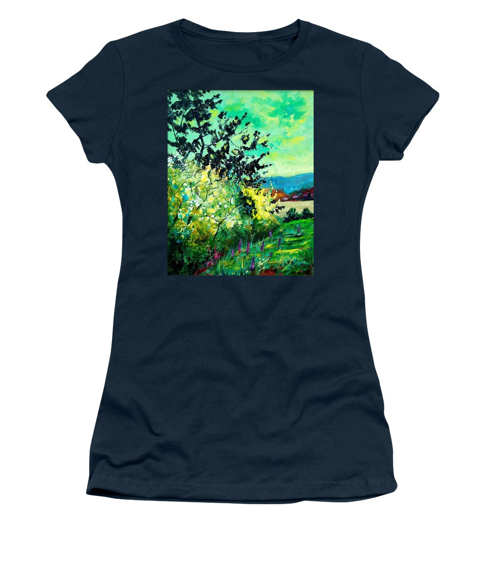 Spring Women's T-Shirt (Athletic Fit) featuring the painting spring in Ciergnon by Pol Ledent