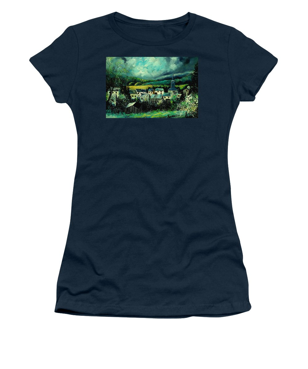 Tree Women's T-Shirt (Athletic Fit) featuring the painting Spring In Daverdisse by Pol Ledent