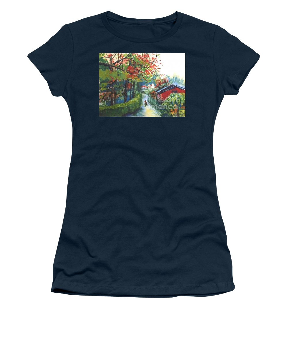 Spring Women's T-Shirt featuring the painting Spring In Southern China by Guanyu Shi