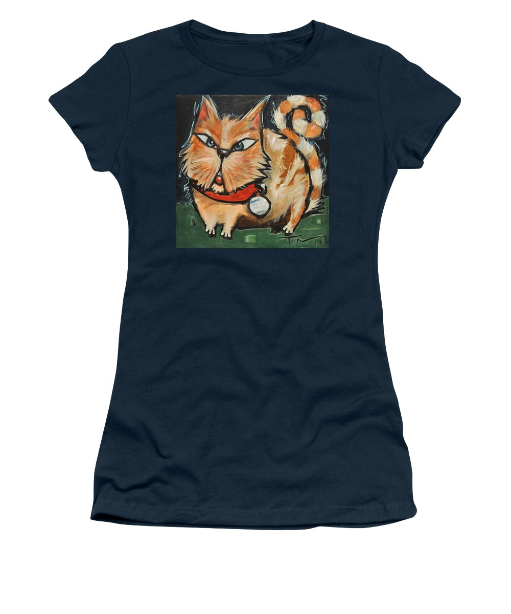 Cat Women's T-Shirt (Athletic Fit) featuring the painting Square Cat Two by Tim Nyberg