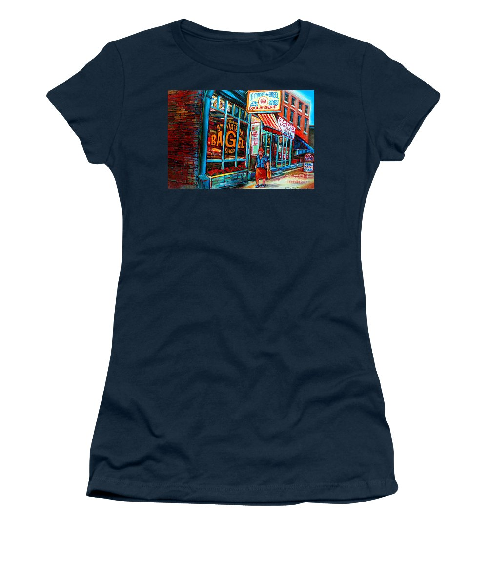 St Women's T-Shirt (Athletic Fit) featuring the painting St. Viateur Bagel Bakery by Carole Spandau