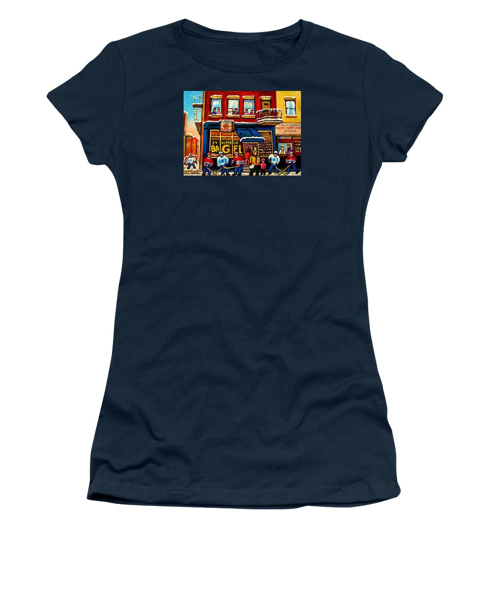 Montreal Women's T-Shirt (Athletic Fit) featuring the painting St. Viateur Bagel Hockey Practice by Carole Spandau
