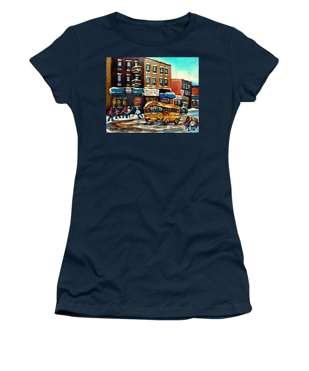 St. Viateur Bagel With Hockey Bus Women's T-Shirt (Athletic Fit) featuring the painting St. Viateur Bagel With Hockey Bus by Carole Spandau