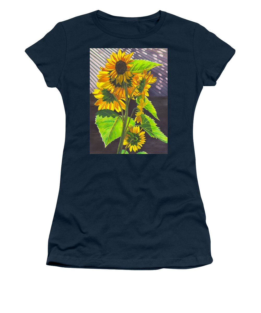 Sunflowers Women's T-Shirt featuring the painting Stalk of Sunflowers by Catherine G McElroy