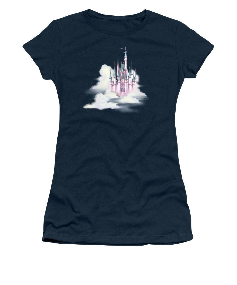 Painting Women's T-Shirt featuring the painting Star Castle In The Clouds by Little Bunny Sunshine