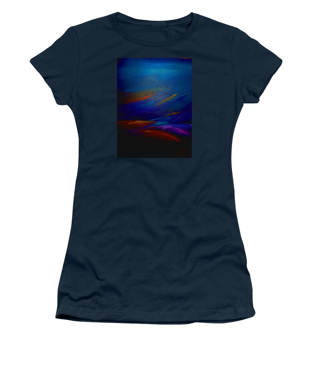 Sunset Women's T-Shirt featuring the painting Starlight @ Night by Jean Habeck
