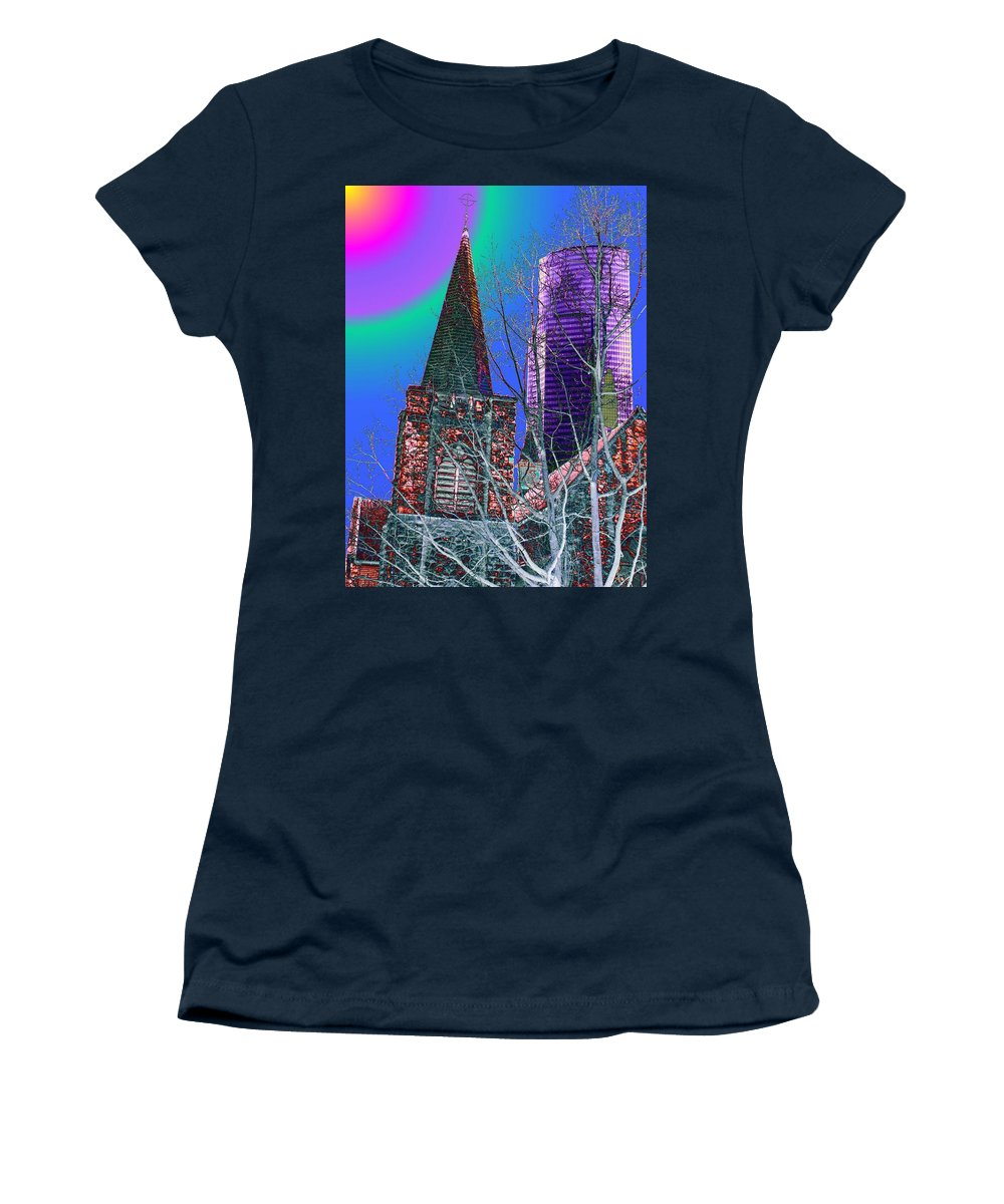 Seattle Women's T-Shirt (Athletic Fit) featuring the digital art Steeple And Columbia by Tim Allen