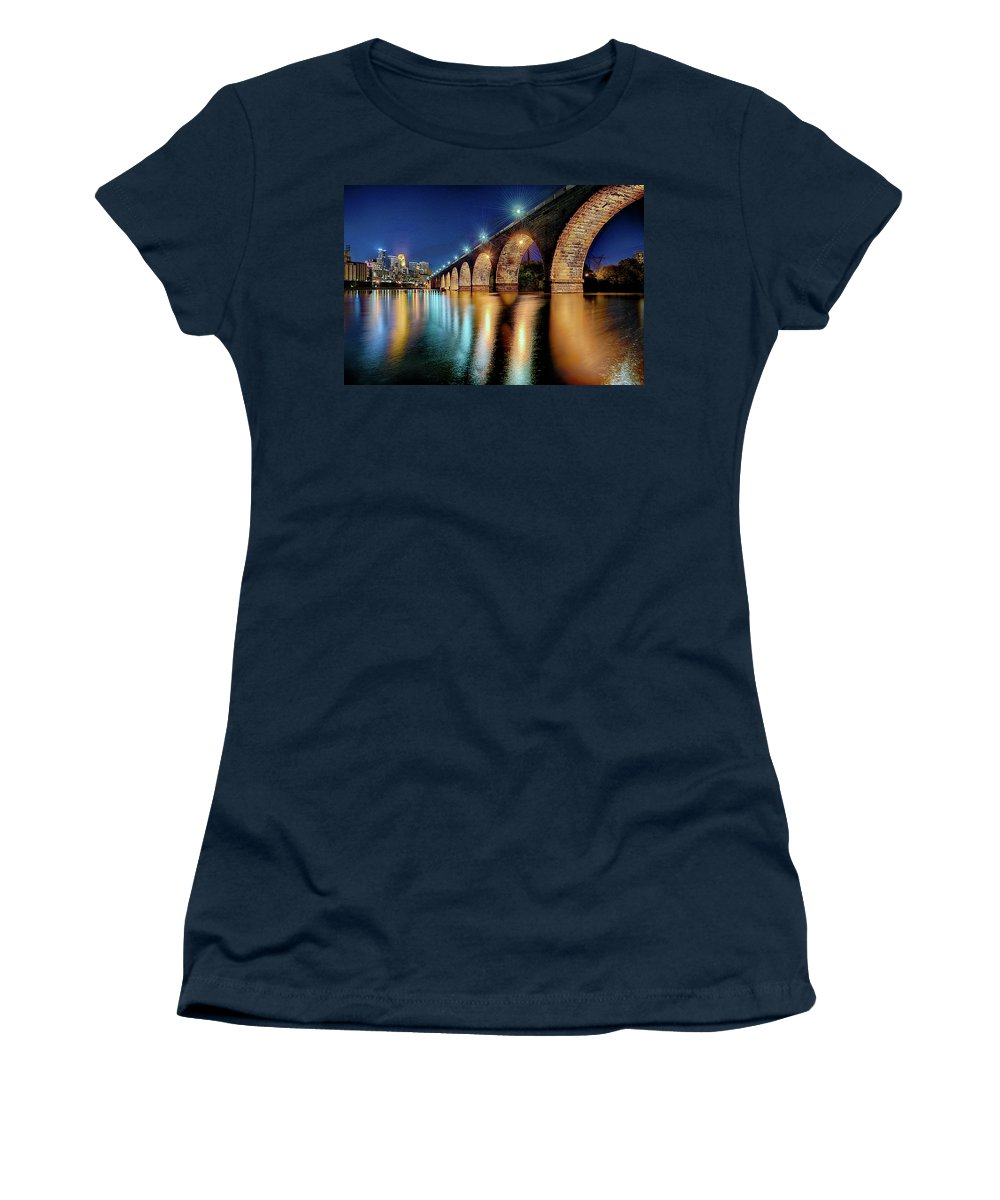 Mississippi River.stone Arch Bridge Women's T-Shirt (Athletic Fit) featuring the photograph Stone Arch Bridge by Craig Voth