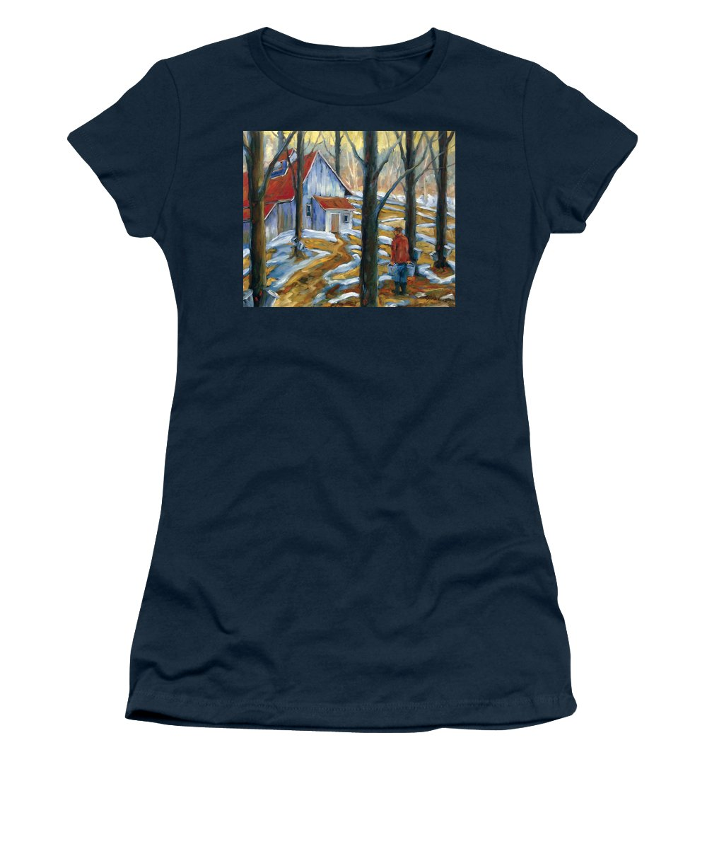 Suga Women's T-Shirt featuring the painting Sugar Bush by Richard T Pranke