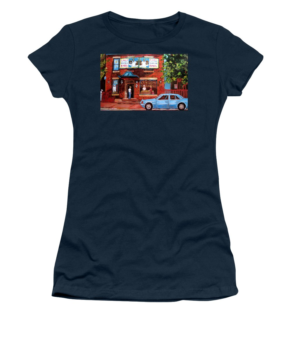 Fairmount Bagel Women's T-Shirt featuring the painting Summer At Fairmount by Carole Spandau