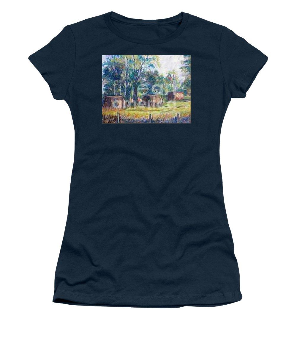 Landscape Women's T-Shirt featuring the painting Summer Idyll by Jan Bennicoff