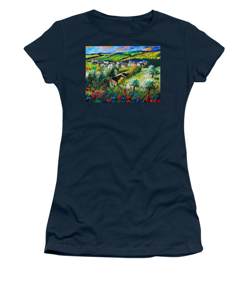 Poppies Women's T-Shirt (Athletic Fit) featuring the painting Summer In Rochehaut by Pol Ledent