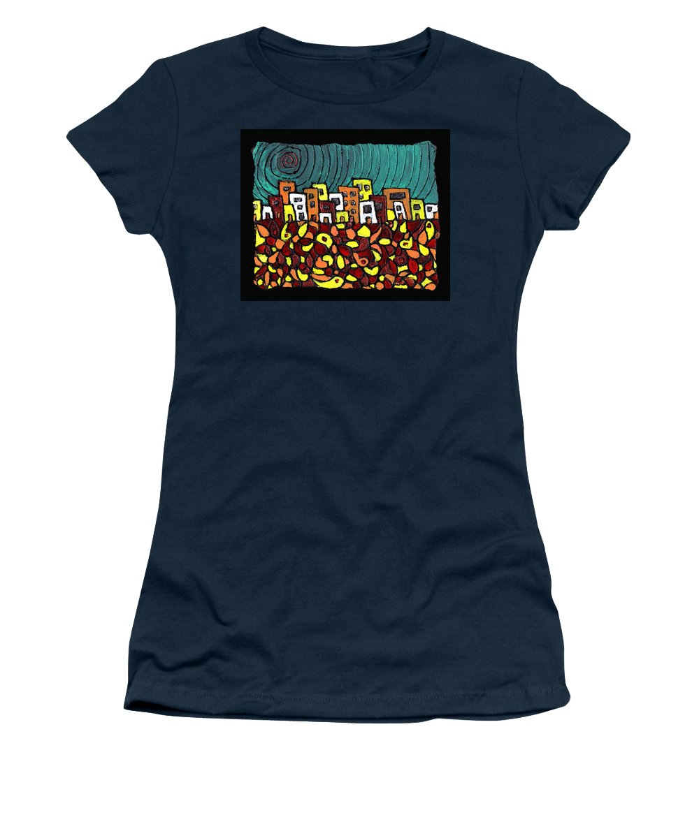 City Women's T-Shirt (Athletic Fit) featuring the painting Summer In The City by Wayne Potrafka