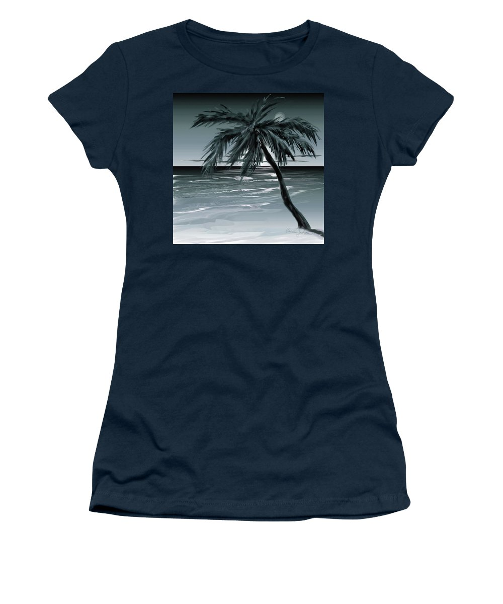 Water Beach Sea Ocean Palm Tree Summer Breeze Moonlight Sky Night Women's T-Shirt (Athletic Fit) featuring the digital art Summer Night In Florida by Veronica Jackson