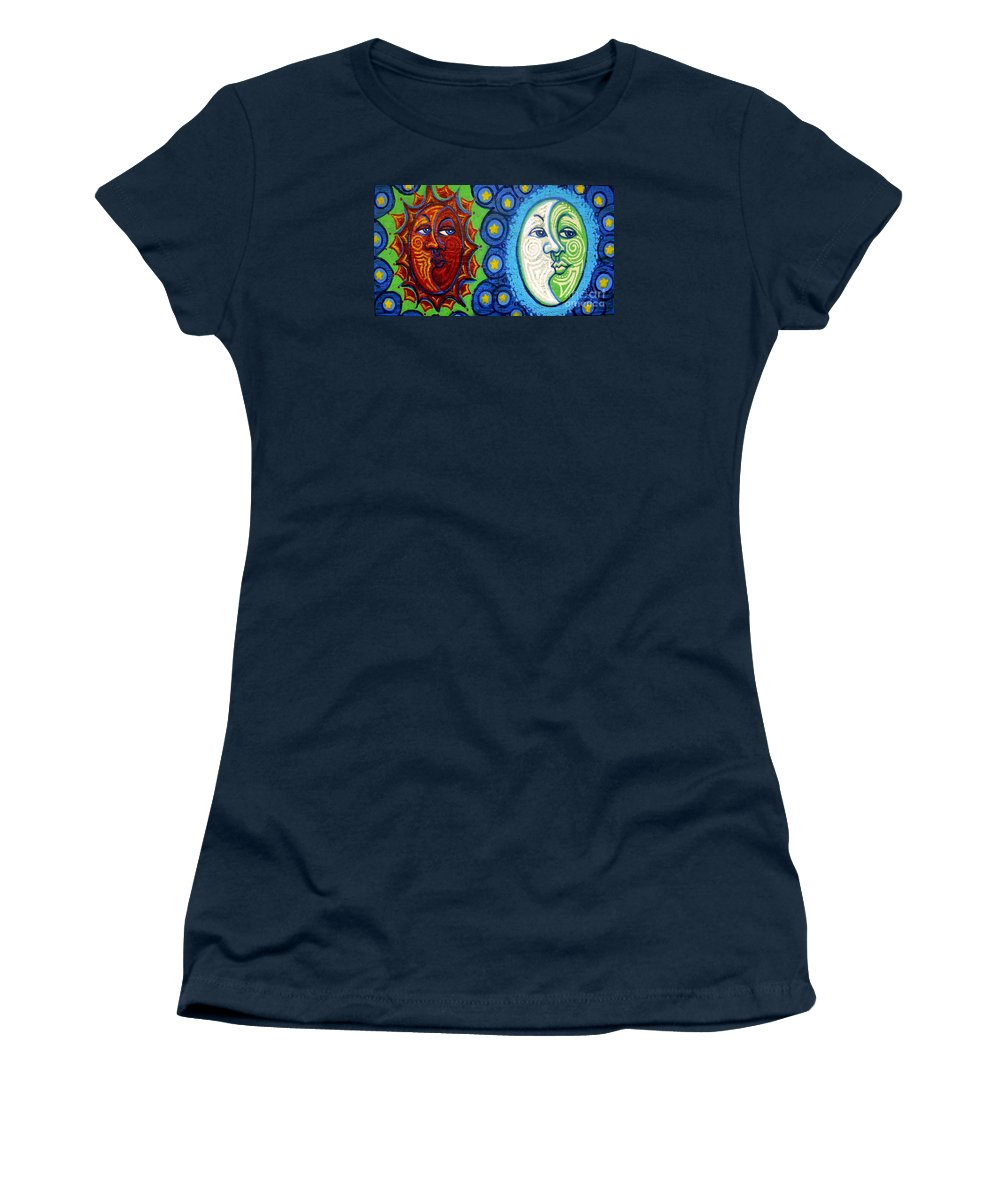 Sun Women's T-Shirt featuring the painting Sun And Moon by Genevieve Esson