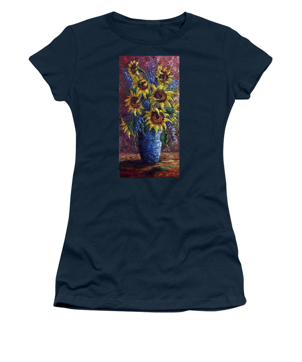 Flowers Women's T-Shirt featuring the painting Sunflower Bouquet by David G Paul