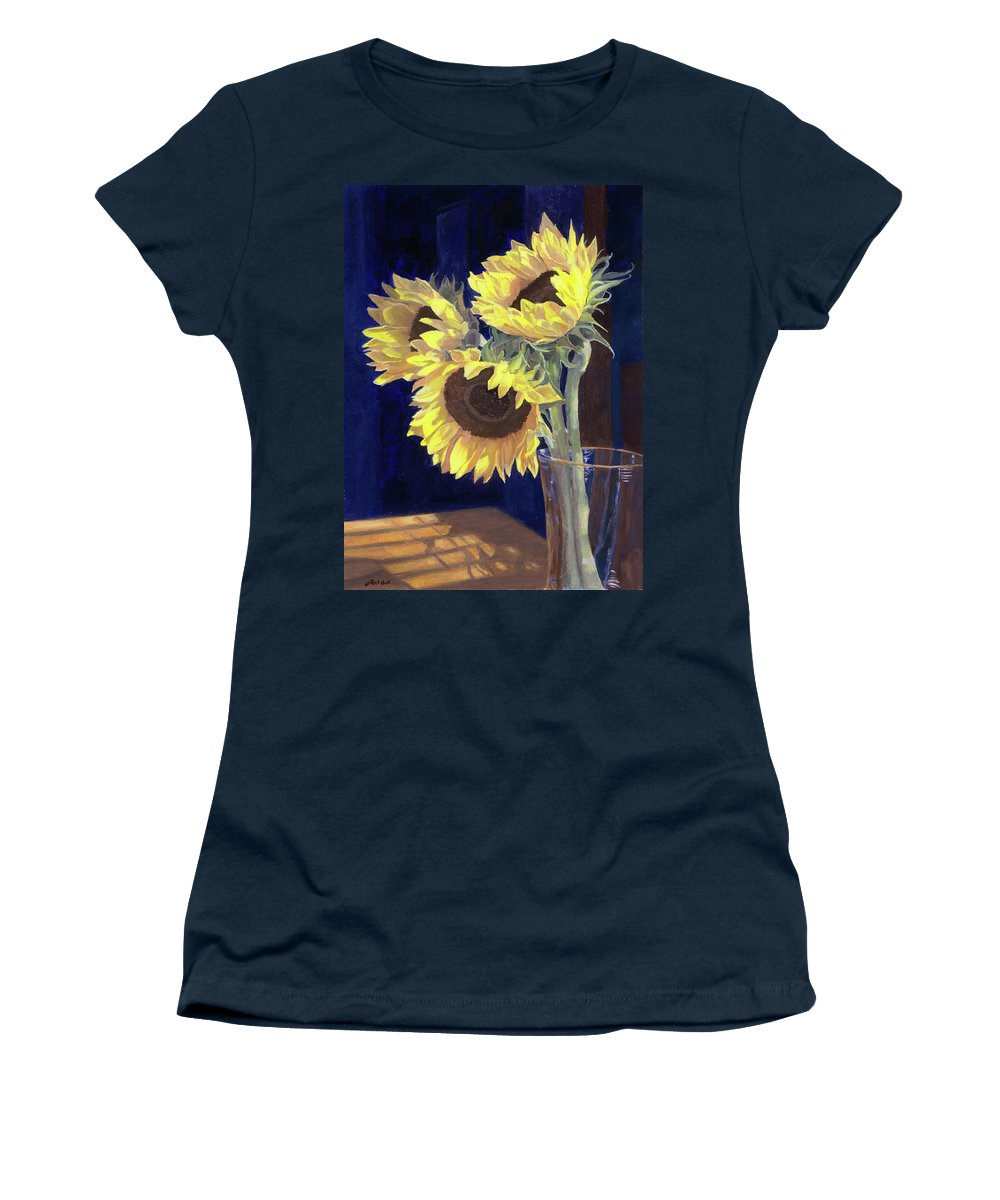 Sunflowers Women's T-Shirt featuring the painting Sunflowers And Light by Lynne Reichhart