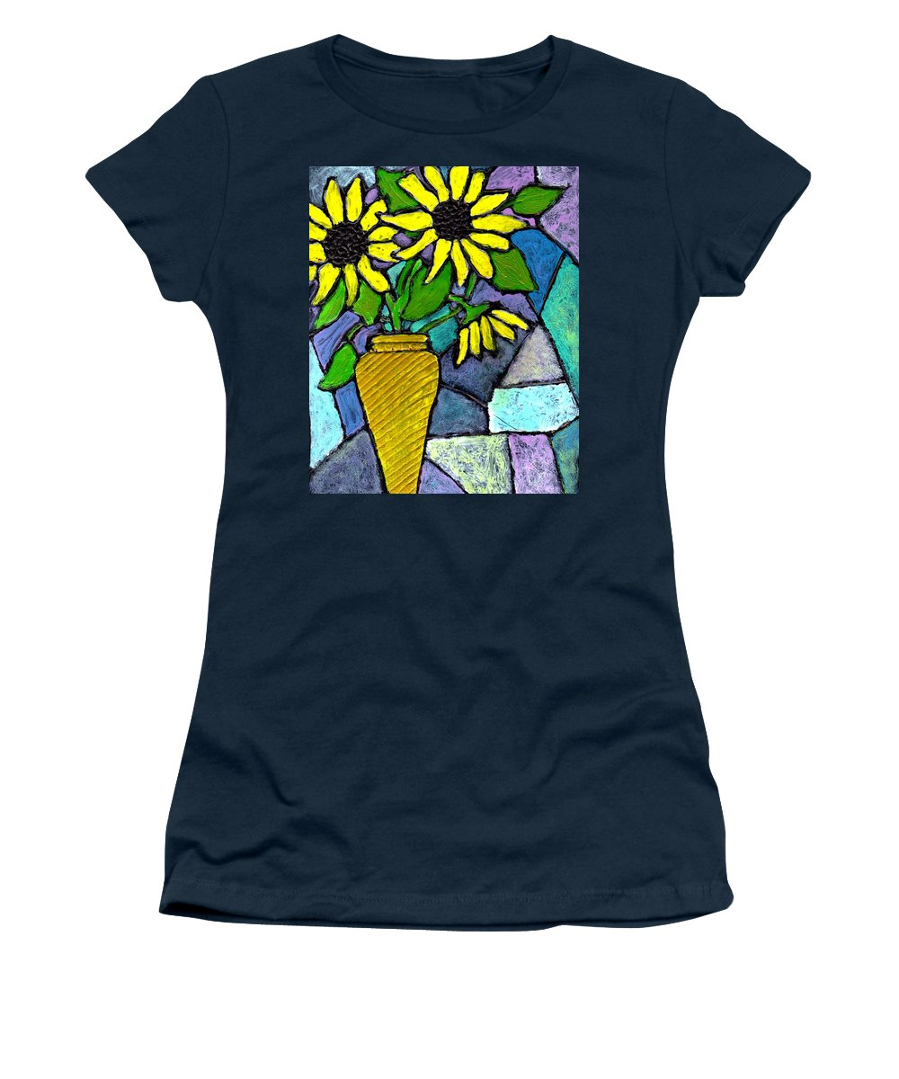 Flowers Women's T-Shirt (Athletic Fit) featuring the painting Sunflowers In A Vase by Wayne Potrafka